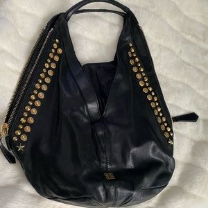 Givenchy Black Leather Gold StuddedLarge Hobo Bag